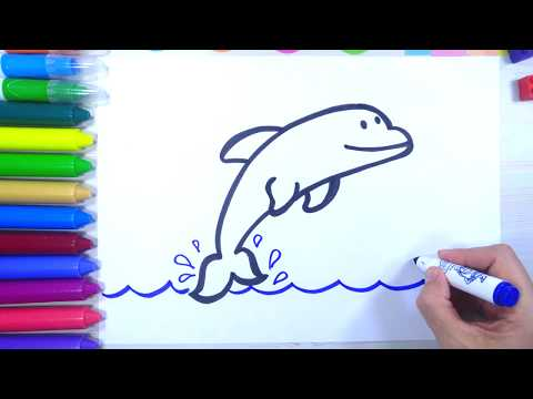 How to draw a dolphin step by step 🐬abcamazing baby channel
