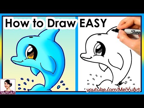 How to draw a dolphin cute easy! new drawing tutorial