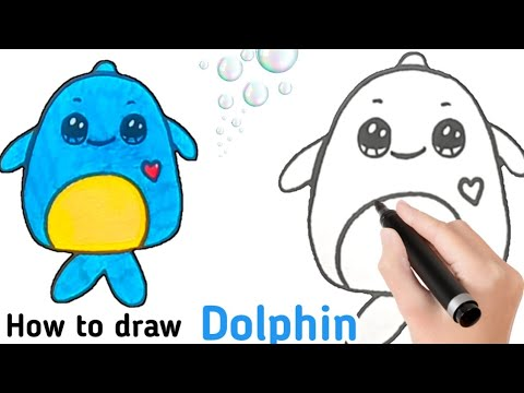 How to draw a baby dolphin easy   how to draw a baby dolphin kawaii squishmallows🐬