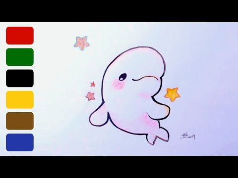How to draw a baby dolphin - very simple and easy