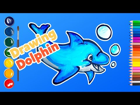 How to draw a dolphin cute easy step by step