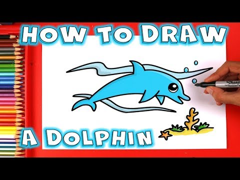 How to draw a dolphin underwater for kids and beginners