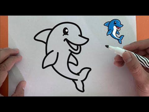 How to draw cute dolphin - basic drawing for kids